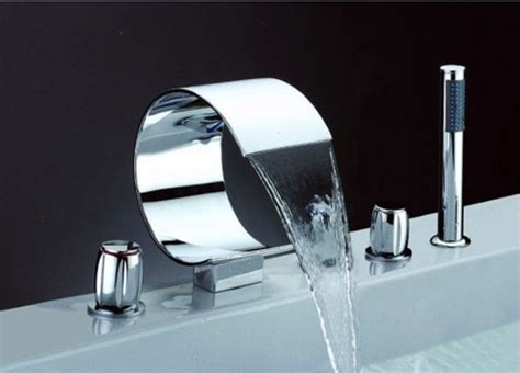 install faucet bathroom five installation hole waterfall bathtub faucet chrome