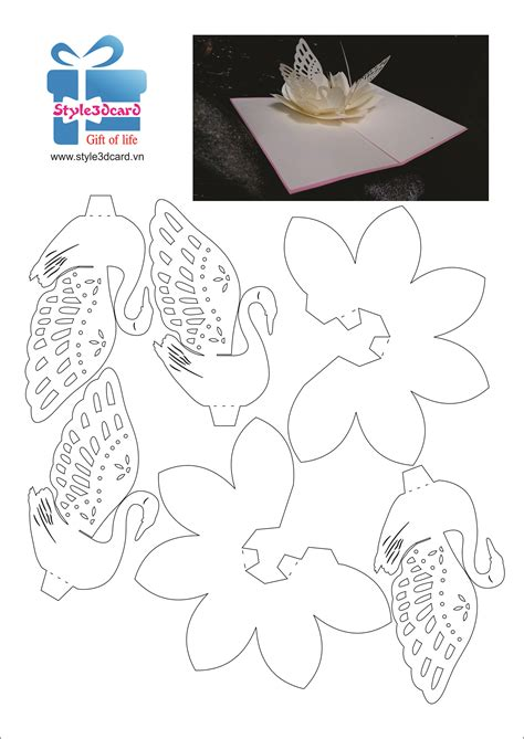 3d Card Templates Free by Swan 3d Pop Up Card 2 Pop Up I Kirigami Pattern