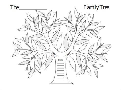 Template Of Tree by Family Tree Black And White Template Www Pixshark