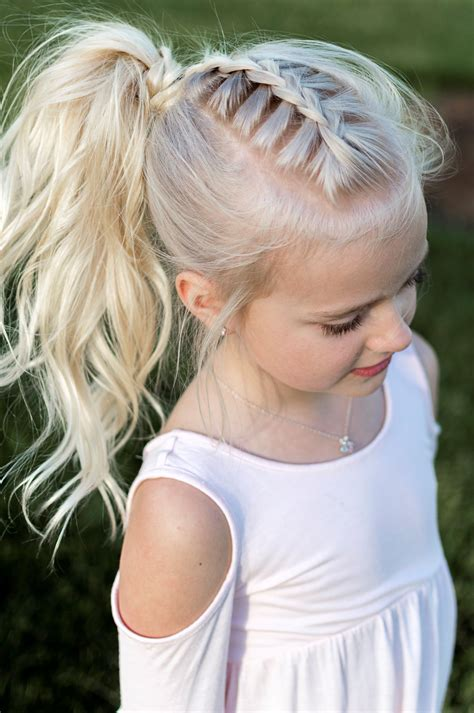 little girl hairstyle french braid pony tail curls high