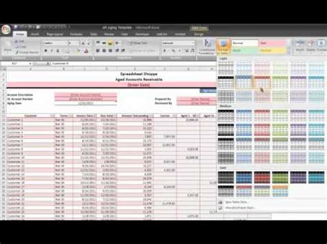 ar aging excel template tutorial video and download