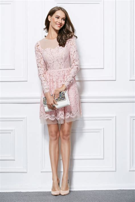 Bt8868 Pink Sofia Mini Dress mini pink lace sleeve graduation dress