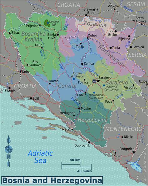 where is bosnia on a world map map of bosnia and herzegovina map regions worldofmaps
