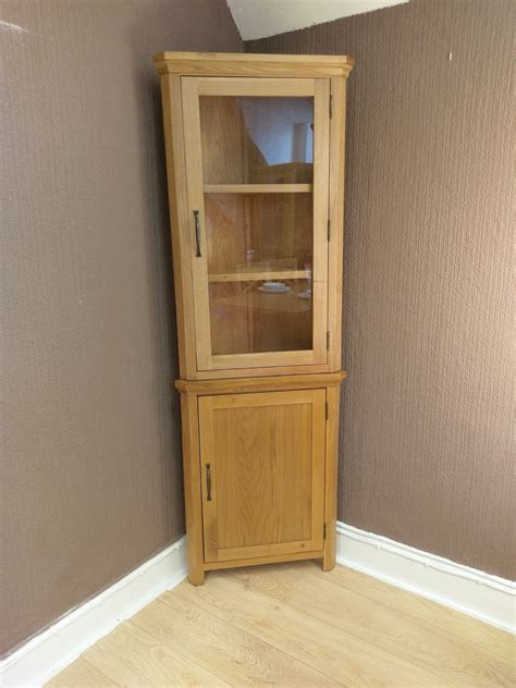 corner oak cabinet with doors toronto solid oak corner display cabinet cupboard
