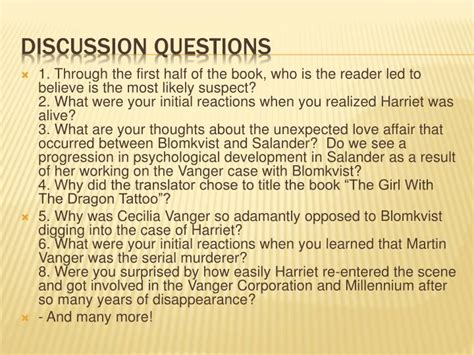 tattoo discussion questions ppt stieg larsson the girl with the dragon tattoo 2005