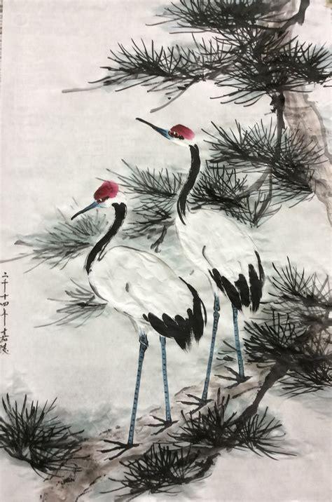 crane painting demo painting 2014 谭嘉陵 traditional brush painting