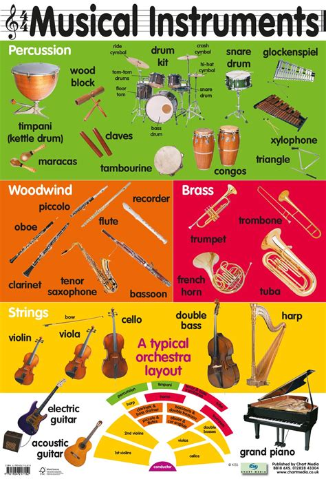 musical instruments poster by chart media chart media