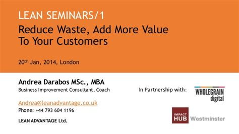 How Mba Add Value To Your Career by Lean Seminar Reduce Waste Add More Value To Your