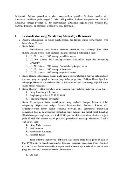 Sejarah Indonesia Dari Proklamasi Sai Orde Reformasi makalah sejarah indonesia pada masa orde baru dan reformasi