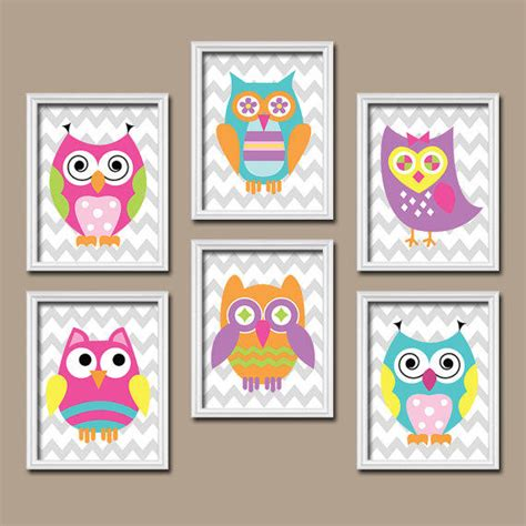 Funky Bold Bright Colorful Owl Artwork From Trm Design Funky Nursery Decor