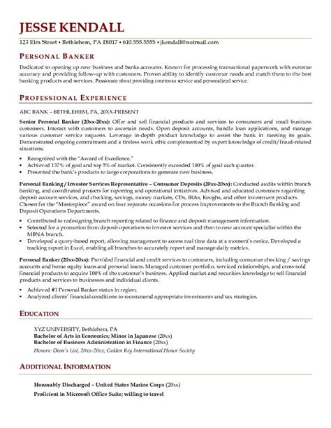 Example Personal Banker Resume   Free Sample