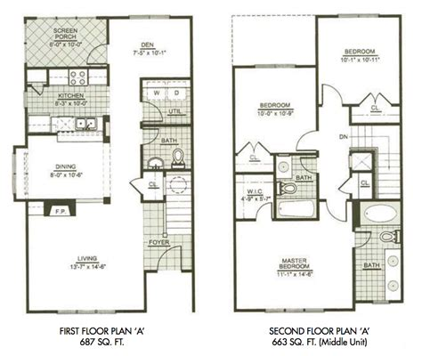 2 story apartment floor plans three bedroom townhome tt pinterest third bedrooms