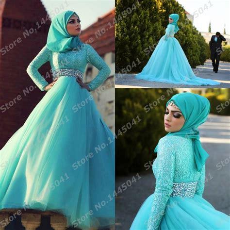 Islamic Modern Muslim luruxy Blue Wedding Dress Vestidos