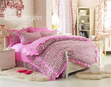 leopard print bedding sets cute pink leopard print 4 piece bedding sets duvet cover sets beddinginn com