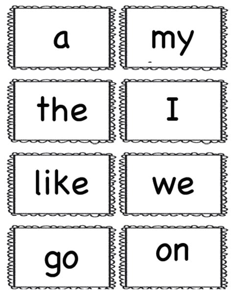 printable flash cards words kindergarten sight words printables flash card to print