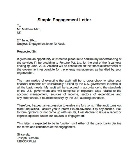 engagement agreement template sle engagement letter 9 free documents in