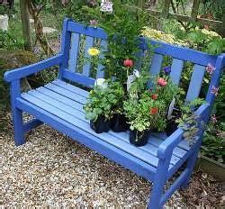 blue garden bench green bicycle garden bench