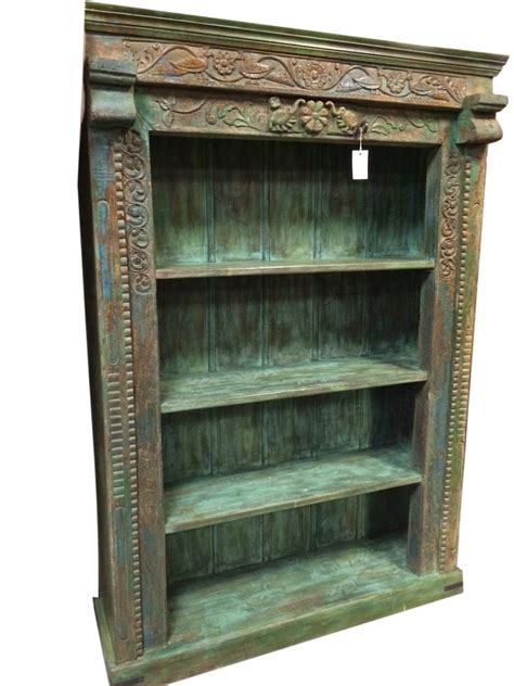 antiqie solid carving cabinet book shelf vintage indian 4