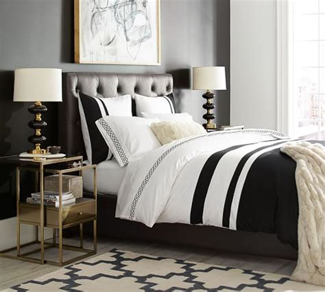 lorraine tufted leather low bed headboard pottery barn