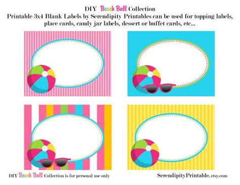 printable labels etsy instant download beach ball pool printable food labels
