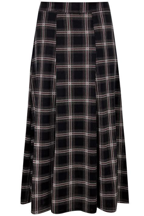 White Black Maxi black white checked maxi skirt plus size 16 to 36
