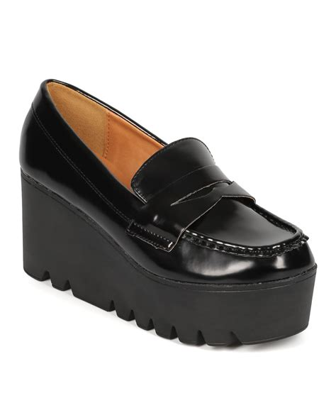 lug sole loafers new qupid mob 01 patent lug sole slip on loafer