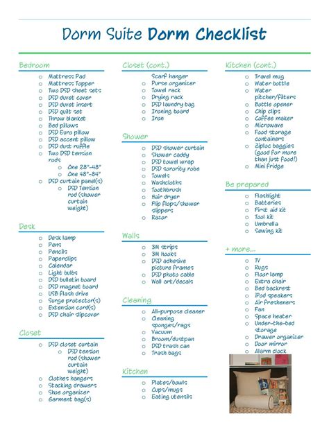 college room packing list suite apartment checklist future apartment