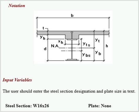 beam section properties building structural design composite beam sectio
