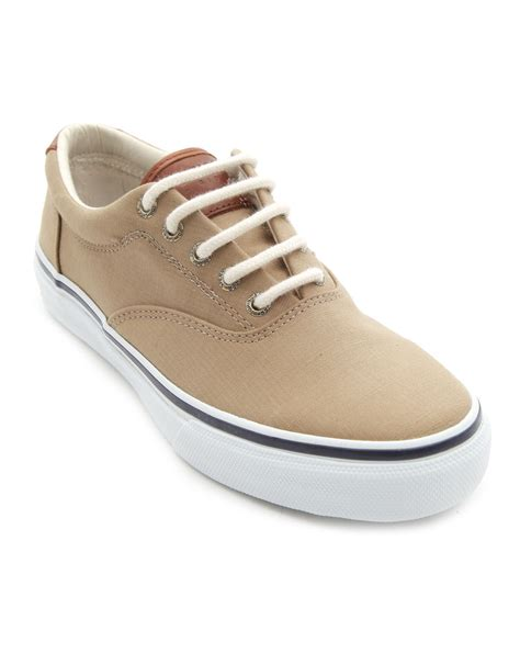 sperry top sider striper beige leather and canvas sneakers
