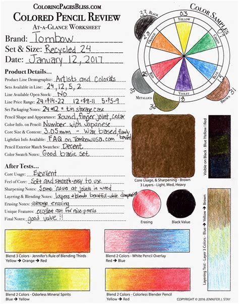 coloring pages bliss color chart tombow recycled colored pencils review