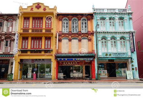 houses at chinatown in singapore editorial image image