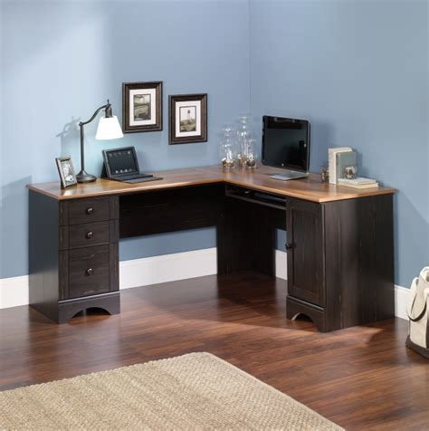 sauder harbor view corner computer desk antiqued paint finish sauder harbor view corner computer desk in antiqued paint