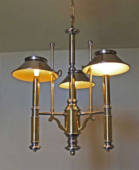 Lightolier Chandelier Lightolier Brass And Nickel Three Light Chandelier For Sale At 1stdibs