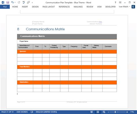 communication plan templates ms word and excel
