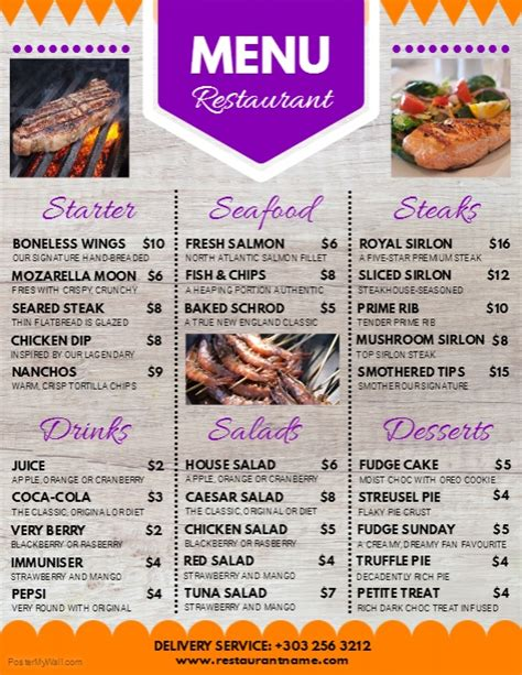 Copy Of Restaurant Menu Restaurant Flyer Postermywall Menu Poster Template Free