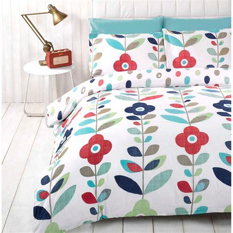 retro bedding retro floral duvet cover reversible bedding cotton rich