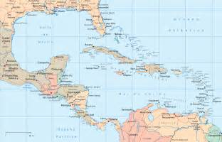map of america and caribbean central america and the caribbean political map size
