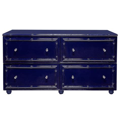 Blue Dressers by Timber Global Bazaar Navy Blue Lacquer Bamboo Dresser