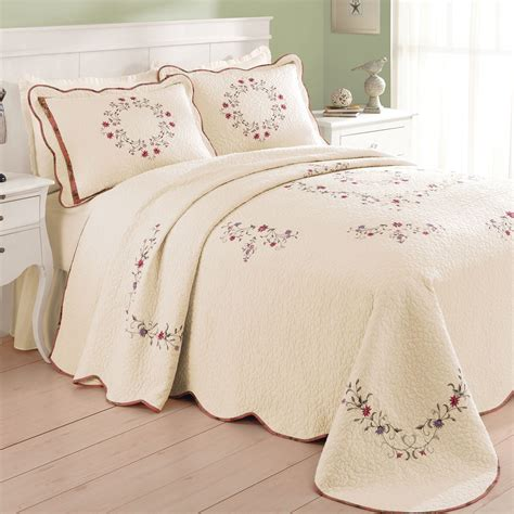 Embroidered Bedspreads Angela Embroidered Floral Quilted Bedspread