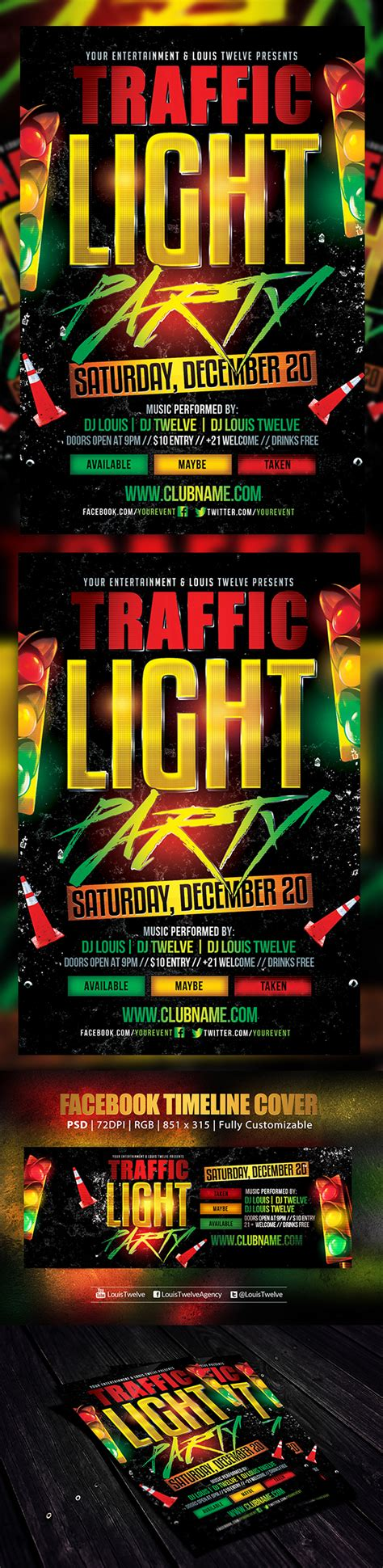 Traffic Light Party 2 Flyer Facebook Cover On Behance Lights Flyer Template