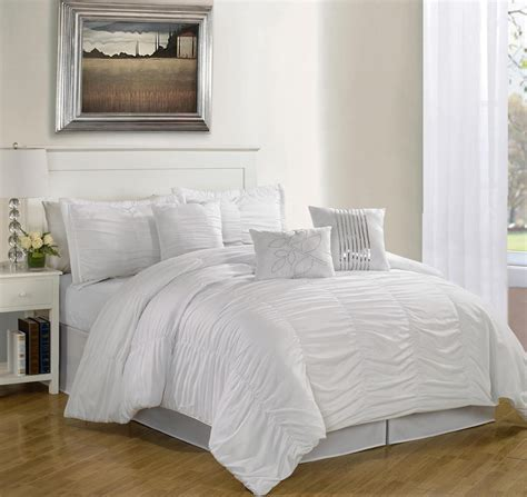 white bedroom comforter sets 7 piece queen hermosa ruffled comforter set white ebay