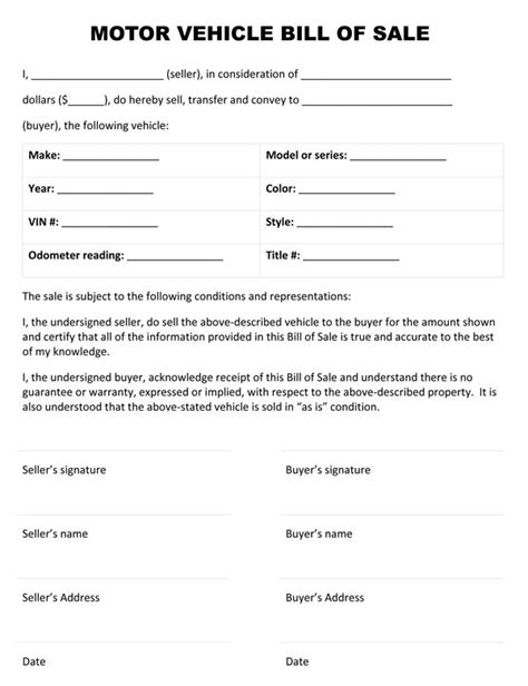 template for auto bill of sale free printable vehicle bill of sale template form generic