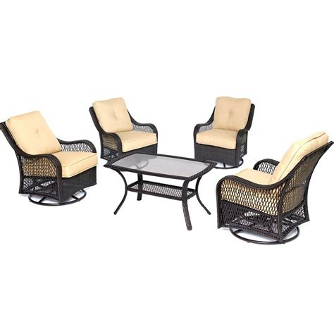 hanover orleans 5 piece wicker patio conversation set with
