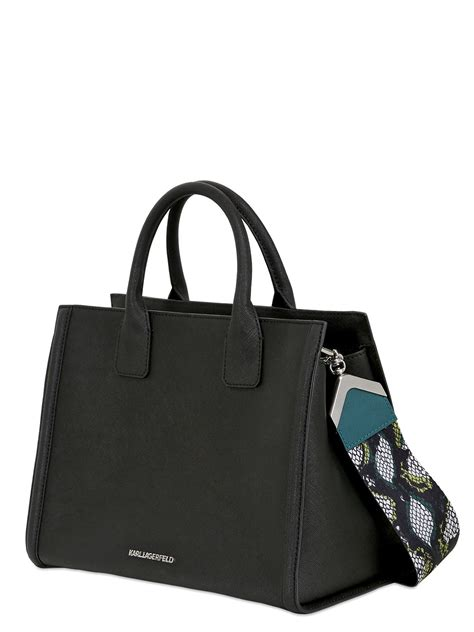 Karl Lagerfeld Says Get A Bag Perhaps From His New Purse Line karl lagerfeld rock saffiano leather top handle bag in