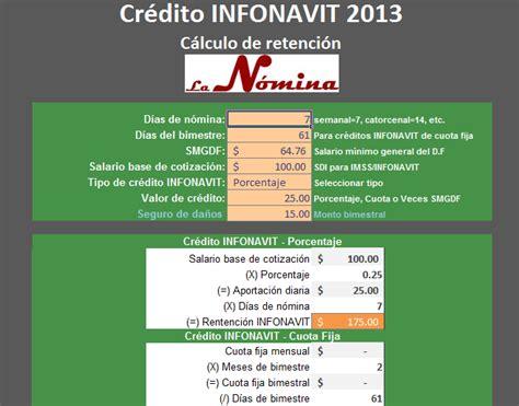 retencion descuento credito infonavit calculo de retencion de credito infonavit 2013