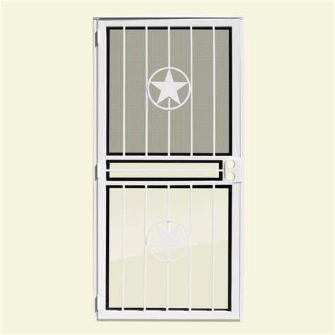 Security Doors With Glass Unique Home Designs 30 In X 80 In Lone Copperclad Recessed Mount All Season Security Door