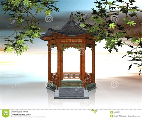 japanese pavilion 3d illustration royalty free stock