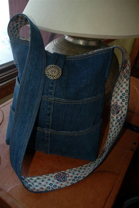 jeans tote bag pattern plenty of pockets denim tote purse couture sac