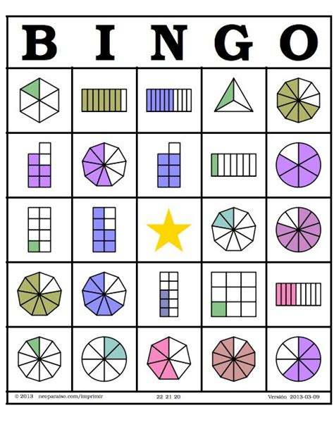 imagenes matematicas de fracciones bingo fracciones tarjetas http neoparaiso com imprimir