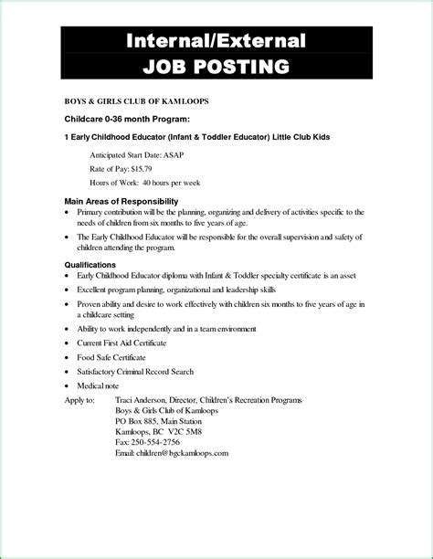 Internal Job Posting Template Business Plan Template Posting Email Template